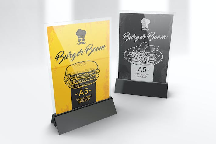 menu holder table tent mockups by streetd on envato elements