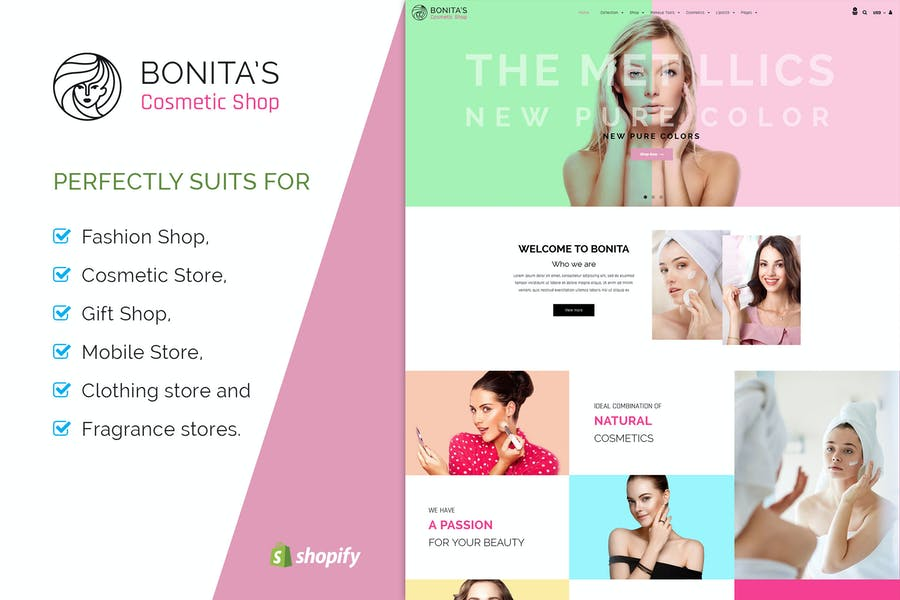 Bonita   Косметика, Салон Shopify Тема