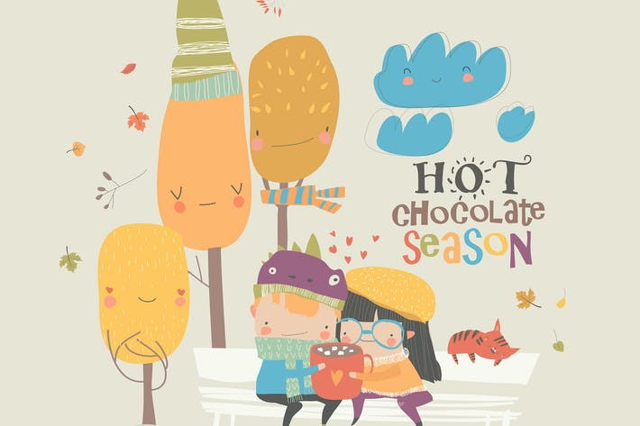 Thumbnail for Couple in love sitting on bench and drink chocolat