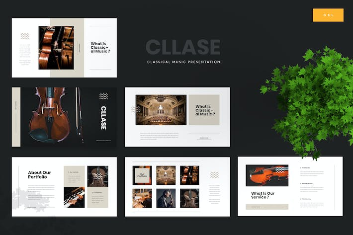 Thumbnail for Cllase - Classical Music Google Slides Template