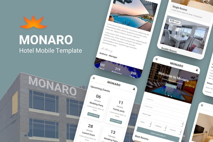 Thumbnail for Monaro - Hotel Mobile Template
