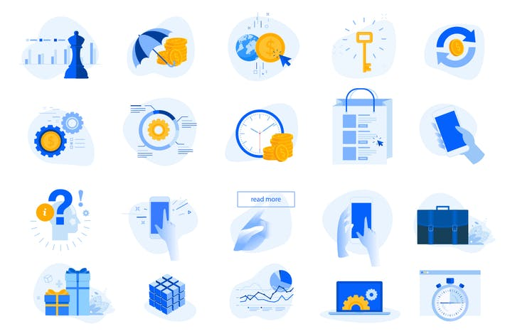 Thumbnail for Flat design concept icons collection