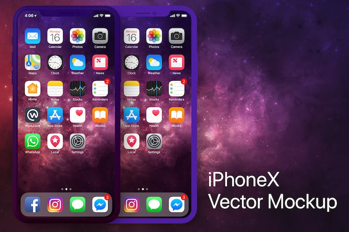 Thumbnail for iPhone X Vector Frontal PSD Mockup