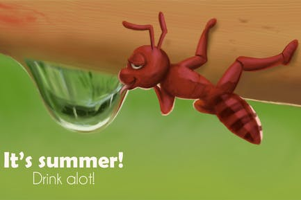 Ants in Summer Hand Drawn Digital Painting