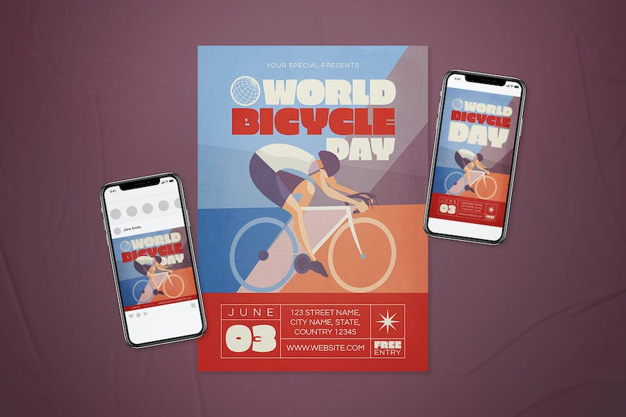 World Bicycle Day Flyer Set