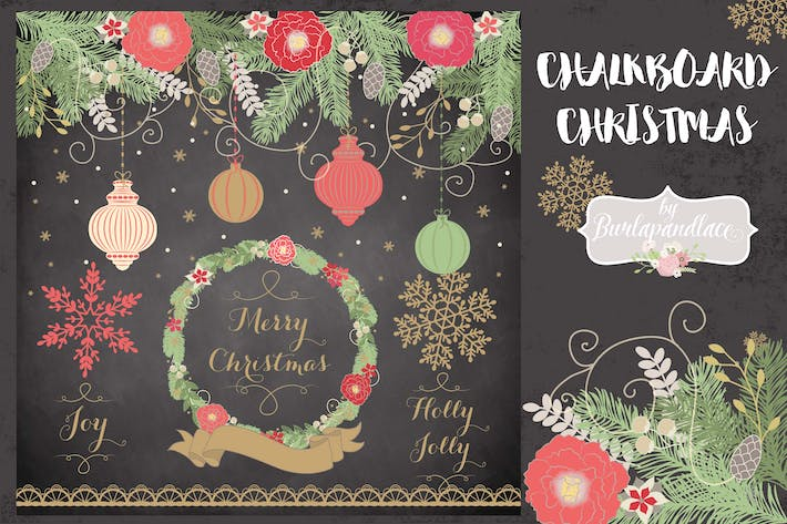 Cover Image For Chalkboard christmas cliparts