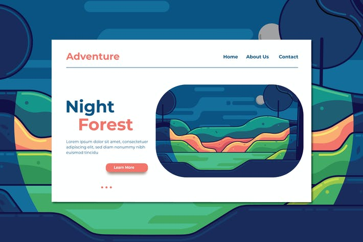 Thumbnail for Night Forest Landing Page Illustration