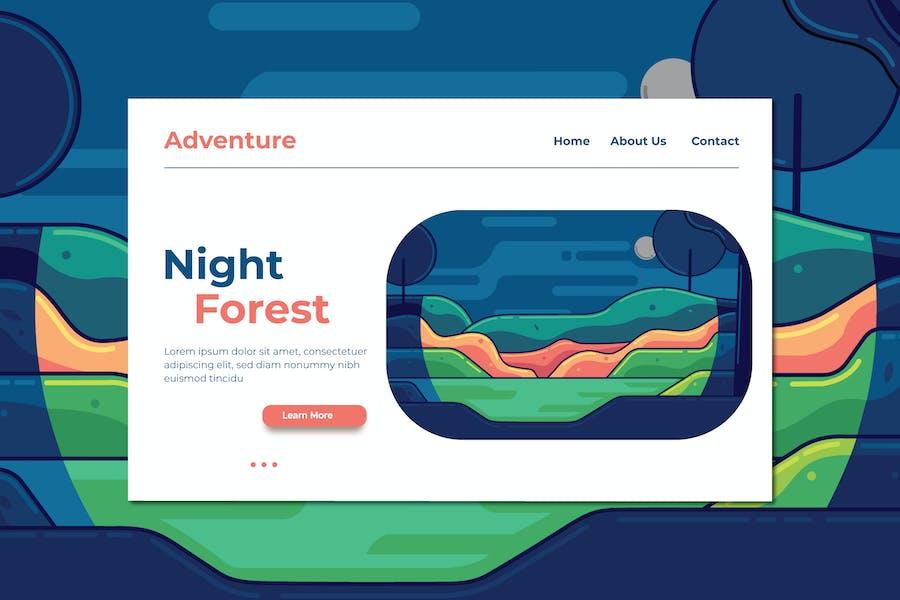 Night Forest Landing Page Illustration