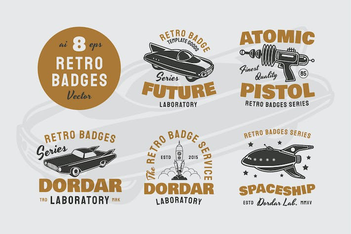 8 Retro / Vintage Badges