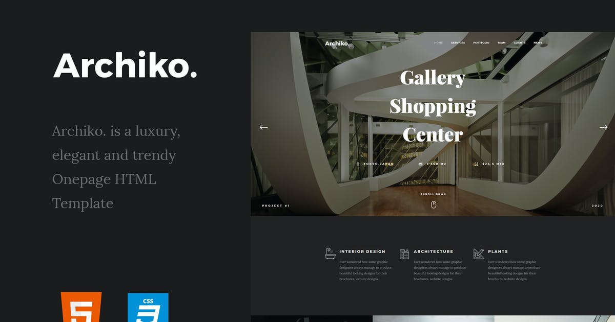 Download Archiko. - Architecture Onepage HTML Template by paul_tf