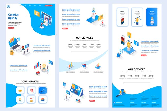Creative Agency Isometric Landing Page Template