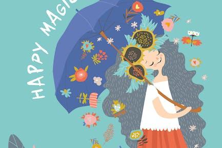 Красивая девушка с зонтом #illustration2020