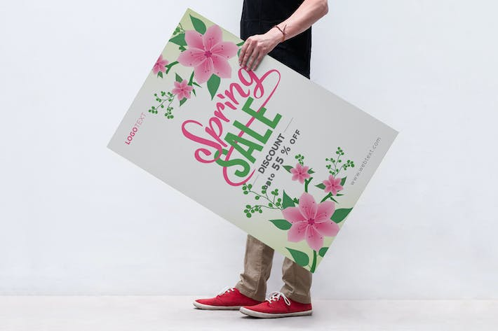 Thumbnail for White and Pink Spring Poster with Floral Corners