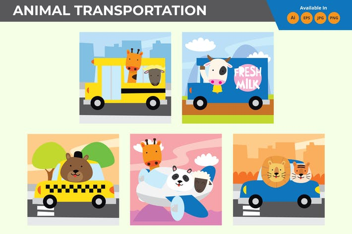Thumbnail for Tier im Transport Cartoon Sammlung