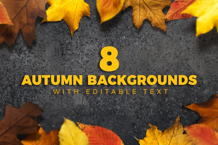 8 Autumn Backgrounds with Editable Text