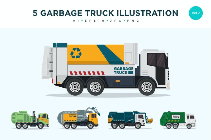 Thumbnail for 5 Recycle Garbage Truck Vector Illustration Set 2