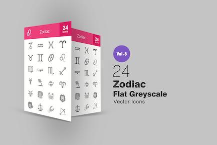 24 Zodiac Flat Greyscale Icons