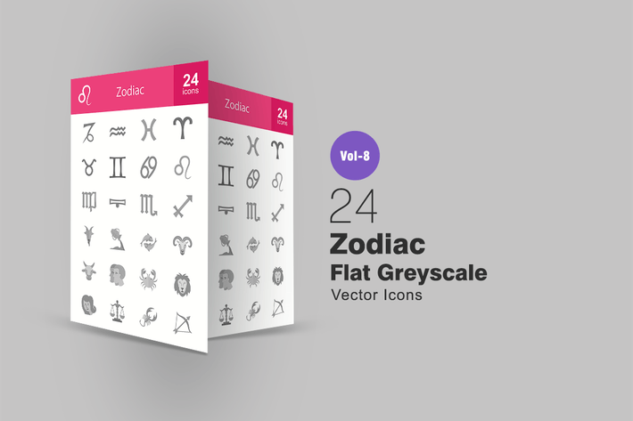 Thumbnail for 24 Zodiac Flat Greyscale Icons