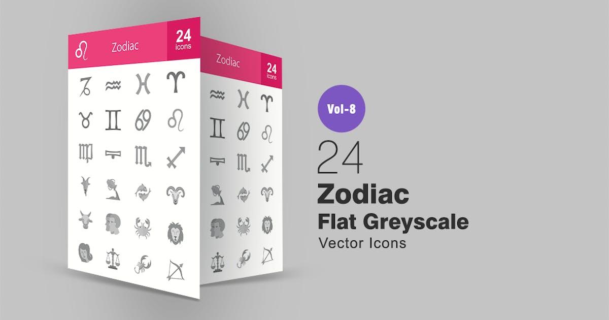 Download 24 Zodiac Flat Greyscale Icons by IconBunny