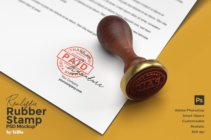 Thumbnail for Realistic Rubber Stamp PSD Mockup