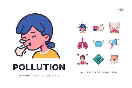 36 Íconos de contaminación Estilo de color lineal