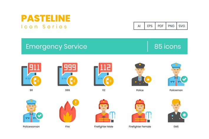 85 Emergency Services Icons - Pasteline Series