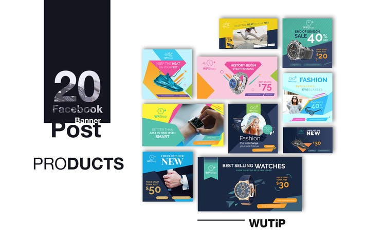 Cover Image For 20 Facebook Post Banner - Products