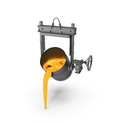 Geschmolzenes Metall Gießen aus Gießereischöpfkelle