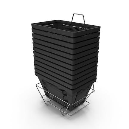 Set von 12 schwarzen Einkaufskörben mit Kunststoffgriffen und Ständer