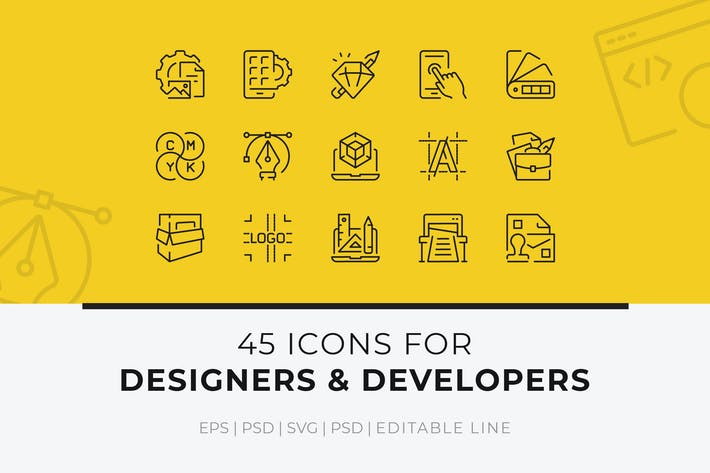Thumbnail for 45 Icons for Designers and Developers