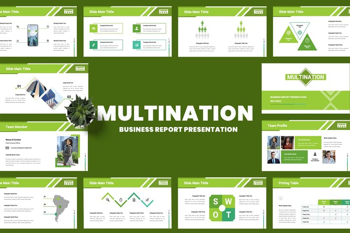 Thumbnail for Multination - Business Report Google Slide