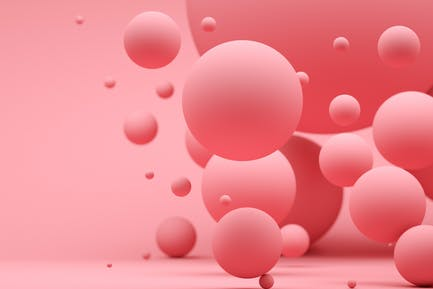 Abstract background with pink spheres. 3d render