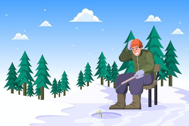 Ice Fishing - Winter Activity Illustration