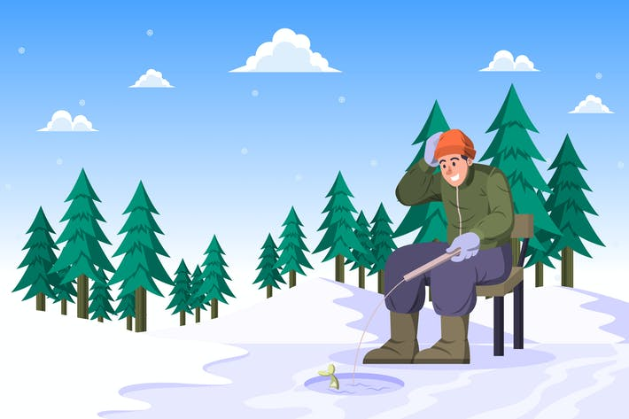 Ice Fishing - Winter Activity Illustration