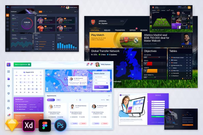 Thumbnail for Bundle - Three Dashboard UI Kit