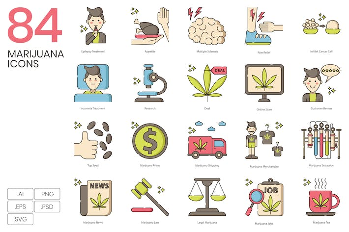 Thumbnail for 84 Marijuana & Weed Icons | Hazel Series