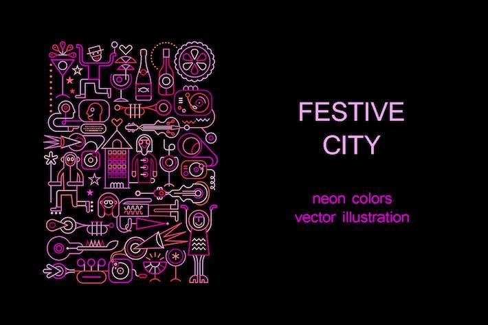 Thumbnail for Neon colors Festive City vector illustraton