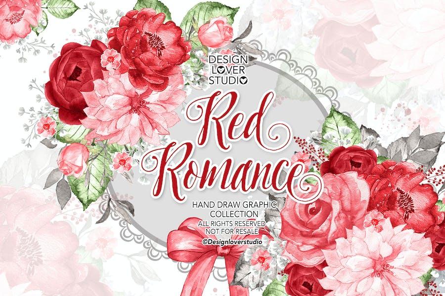 Watercolor RED ROMANCE design