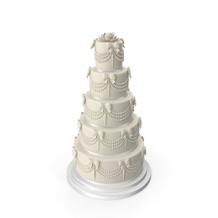 White Wedding Cake with Pearls and Bows