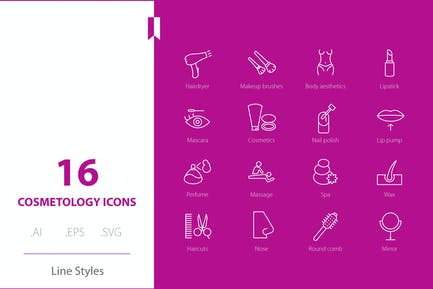 Cosmetology Icon Line Styles