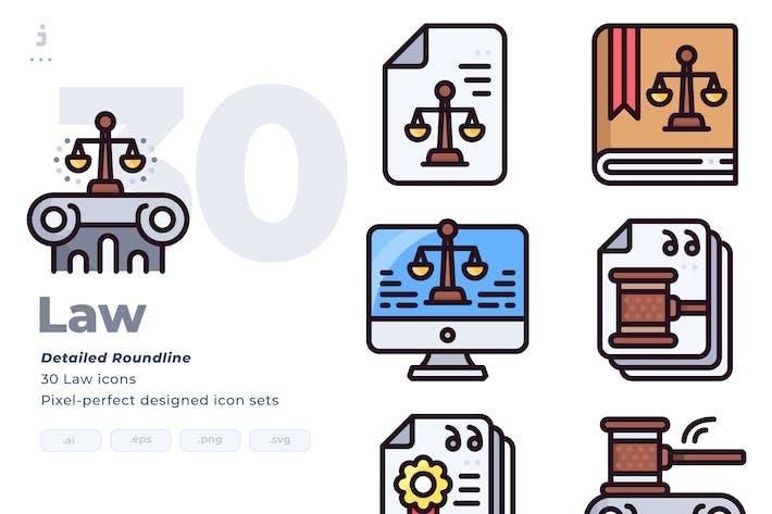 30 Law Icon set - Detailed Round line