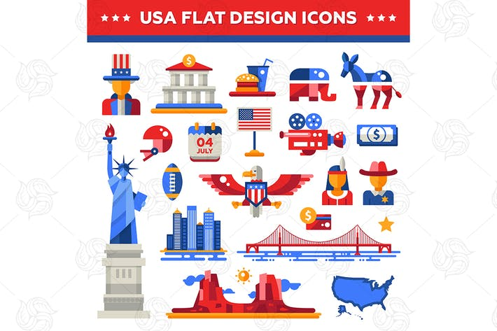 Thumbnail for USA flat design icons