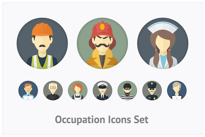 Thumbnail for Flat Occupation Icons Set