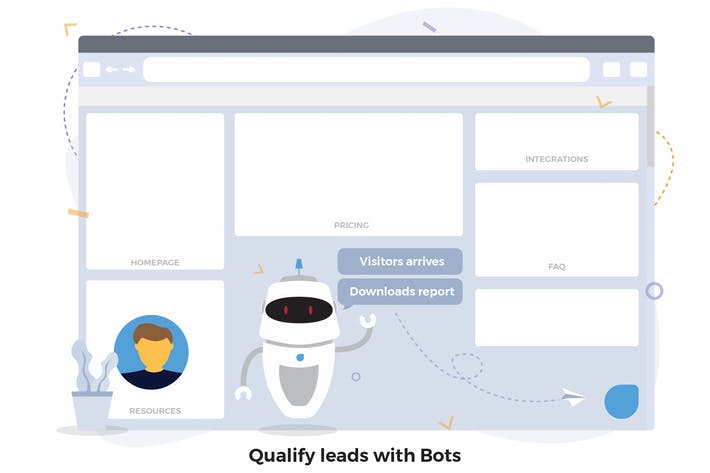 Thumbnail for Bots Qualify Leads CRM Illustration