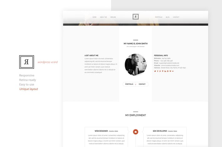 Thumbnail for RIVAL One Page Vcard Wordpress Theme