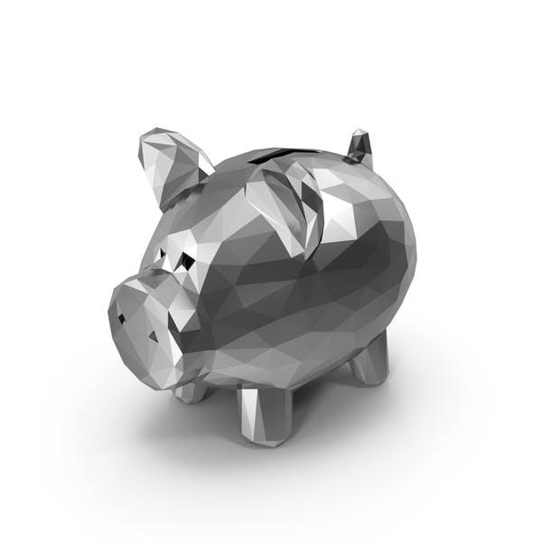 Low Poly Silver Piggy Bank