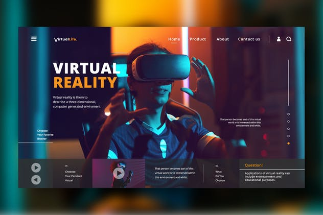Virtual Life Web Header PSD / XD