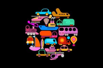 Transportation round shape vector design
