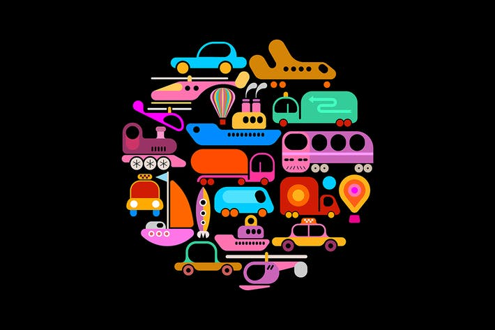 Thumbnail for Transportation round shape vector design