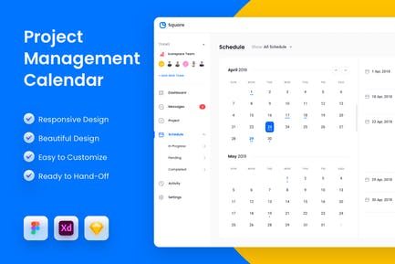 Calendar Schedule Project Management App UI Kit